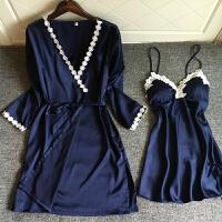 2018新款性感睡衣女夏吊带睡裙两件套送胸垫冰丝睡袍丝绸薄款家居服套装女