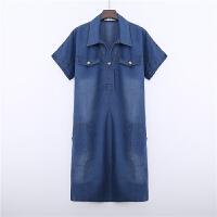 大码女装夏装新款中长款牛仔连衣裙宽松显瘦胖气质长裙女