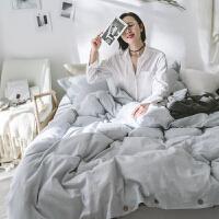 棉麻水洗床上四件套素色色双人1.8m床单床品简约春夏纽扣款