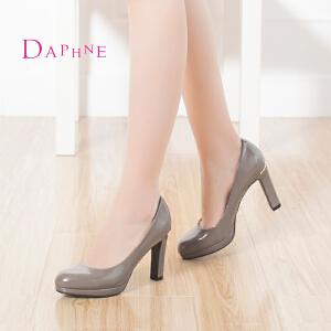 Daphne/达芙妮 浅口女单鞋 细高跟漆皮通勤鞋1015404061