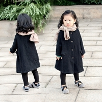 女童秋冬装加厚洋气韩版女孩宝宝儿童加绒风衣中长款外套