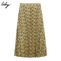 Lily2019秋新款女装OL撞色几何印花中长款百褶半身裙119310C6606