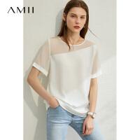 【券后预估价:86元】Amii优雅露肩轻透雪纺衫小衫女2020夏新款洋气黑色百搭短袖上衣