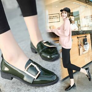 2018春季新款方根方头中跟休闲英伦单鞋时尚复古百搭韩版潮流女鞋