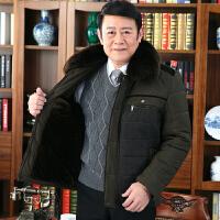 中年男士爸爸冬装外套厚款棉衣中老年人40-50岁加绒冬季棉袄 MY077-咸菜绿 190/3XL