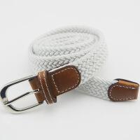 无孔编织细腰带男女士 编制皮带针扣帆布弹力松紧弹力裤带 95cm