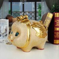 陶瓷创意家居装饰品可爱猪存钱储蓄罐酒柜儿童礼品摆件礼物 陶瓷金猪存钱罐-中号
