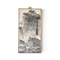 国画中式客厅装饰画山水风景画玄关竖版过道壁画走廊挂画