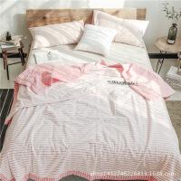 家纺日式简约条纹水洗棉夏凉被单人双人空调被夏天薄被子全棉Y