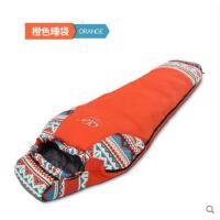 拼接精美中国民族风睡袋户外睡袋成人羽绒睡袋木乃伊式雪地保暖
