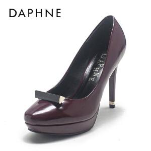 Daphne/达芙妮春季新款超高跟防水台圆头浅口PU女单鞋