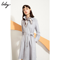 Lily2019秋新款女装简约大气仿麂皮衬衫式长袖连衣裙119340C7618