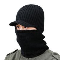 冬季男士户外骑车防寒防风加绒潮保暖针织时尚护耳脖套连体帽子男