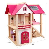 木制粉色小屋过家家房子别墅 儿童DIY玩具厨房娃娃屋女孩生日礼物