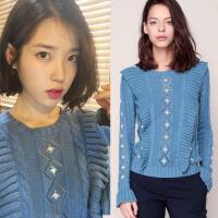 秋冬明星 IU李智恩同款蓝色镂空荷叶边喇叭袖小花朵针织毛衣 蓝色荷叶边毛衣