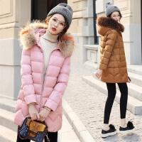 棉衣女中长款韩版2017冬装新款显瘦小个子棉袄连帽宽松外套女