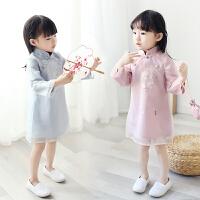 女童旗袍裙长袖2018春装新款中国风宝宝复古改良唐装汉服连衣裙子