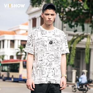 viishow2017男T恤欧美潮牌体恤涂鸦印花半袖男士休闲短袖纯棉t