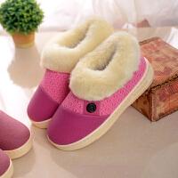 新款棉拖鞋女包跟冬季情侣居家PU皮防水厚底防滑保暖棉鞋男士大码