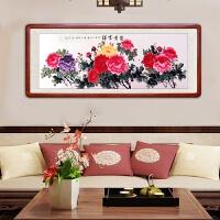 手绘画装饰画国画中式客厅玄关走廊过道壁画竖联风水牡丹挂画 手绘牡丹