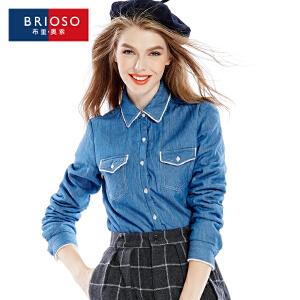 BRIOSO 女士保暖牛仔衬衫 冬季新款加绒加厚全棉牛仔长袖保暖衬衫 修身双袋衬衣 WE19395NZBN
