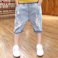 儿童夏季男孩裤子2018新款牛仔裤韩版潮大童装七分裤