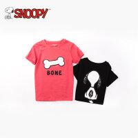 snoopy/史努比2018夏装新款男女童装卡通可爱纯棉圆领短袖宝宝T恤