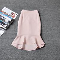 20女秋冬高腰包臀裙半身裙中长款不规则纯色荷叶边鱼尾裙燕尾裙