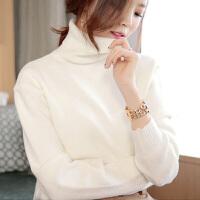 女款秋冬新品白色短款宽松加厚韩版长袖高领套头毛衣女打底针织衫 米白色 S