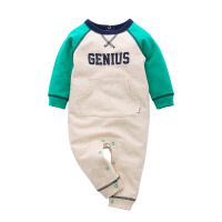 费特 新生儿衣服 春秋季婴儿连体衣长袖哈衣长袖毛圈爬服男宝宝外出服