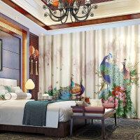 新中式中国风客厅主卧室落地窗帘布料遮光成品平面窗纱帘古典大气