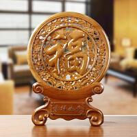 桃木福字摆件木雕挂件风水创意家居客厅电视酒柜新居装饰工艺品