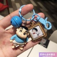 照片定制钥匙扣小新卡通可爱公仔挂件韩国创意铃铛钥匙链圈环书包挂件