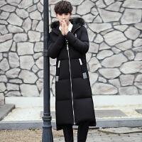 长款过膝加厚羽绒服男韩版修身外套2017男士潮流加长连帽羽绒大衣 黑色