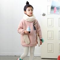 2018冬季韩版童装女童加厚外套羊羔绒上衣女儿童加绒卫衣中大童装