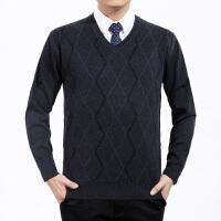 秋冬新款中年人男装毛衣中老年男士大码羊毛衫爸爸装休闲套头毛衫