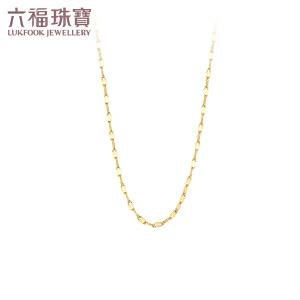 六福珠宝黄金项链十字相连足金项链女百搭款素链  B01TBGN0003