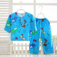 儿童睡衣棉绸薄款长袖套装男童女童宝宝小孩子绵绸空调家居服