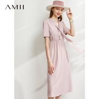 Amii极简法式气质条纹连衣裙夏新款V领领带黑色显瘦衬衣裙子