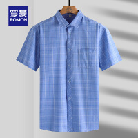 【618狂欢1折起】罗蒙短袖格子衬衫男2021春季新款中青年时尚休闲衬衣职业工装上衣