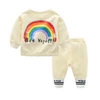 女童洋气套装婴儿衣服春装0长裤子1岁3个月6男宝宝春秋季长袖上衣