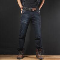 秋季黑色多口袋牛仔裤男裤宽松直筒长裤子加肥加大码肥佬裤秋冬款 牛仔黑 29