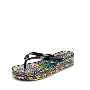 达芙妮夏季凉鞋女中跟沙滩女凉拖鞋人字拖女1515303003
