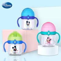迪士尼 新品迪士尼婴幼儿船桨锁扣学饮杯 tritan防漏防呛手柄吸管杯