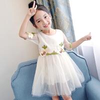 公主纱裙新款中大童小女孩连衣裙短袖夏天裙子