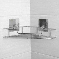 浴室置物架免打孔卫生间转角架不锈钢洗手间收纳架壁挂式强力无痕单层三角架酒店厕所洗澡间厨房置物