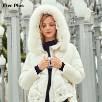 Five Plus女装真毛领羽绒服女连帽外套宽松长袖潮开襟时尚