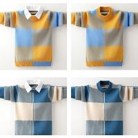 男童毛衣秋冬款加绒中大童儿童套头针织衫男孩假两件纯棉线衣
