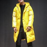日系男中长款过膝加厚防寒棉衣冬装大码外套运动潮牌棉袄大衣