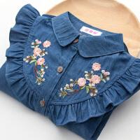 大童长袖衬衣儿童女孩刺绣外套女童牛仔衬衫春装